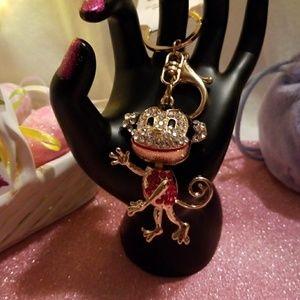 🐒 💎 Cute Monkey Keychain or Purse Charm  🐵 🌷